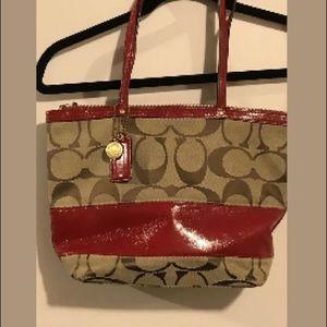 Coach Khaki Signature Stripe Patent Handbag 12459